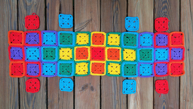 Eight new crochet squares to-be that I completed as the days grow shorter