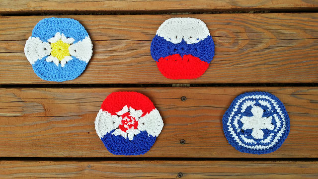 four hurry up crochet hexagons for a crochet soccer ball
