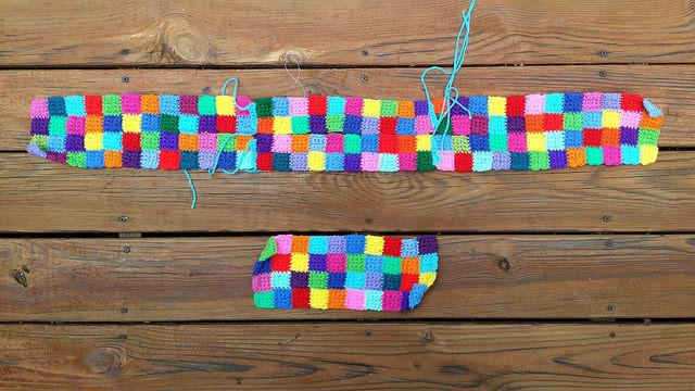 crochet panels of a crochet bag made of crochet squares