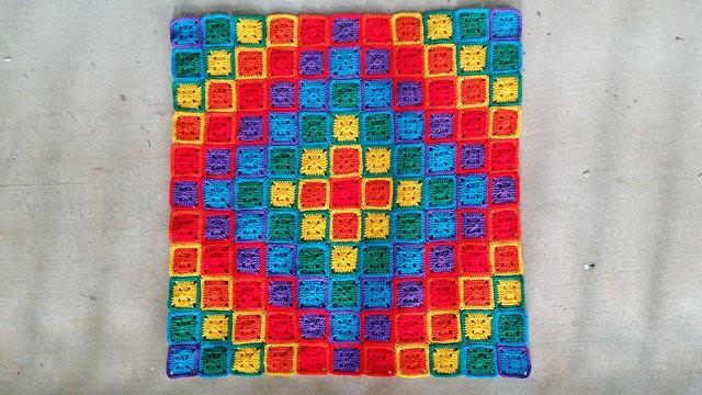 rainbow crochet squares blanket