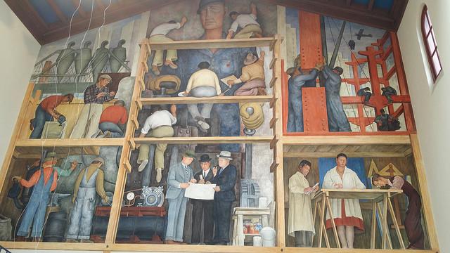 Diego Rivera mural as the San Francisco Art Institute