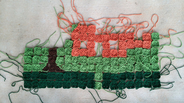 granny square picture afghan