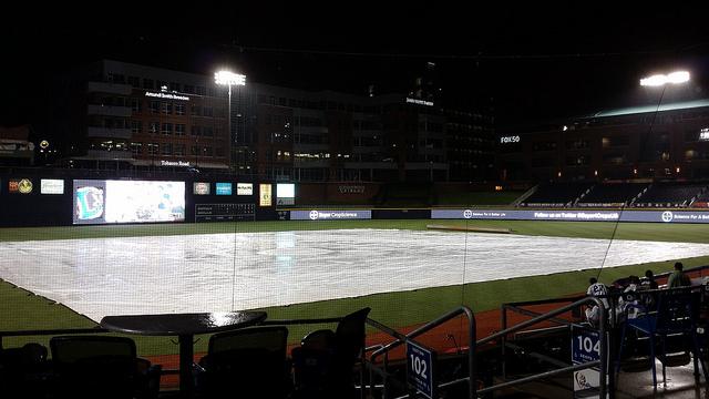 Sometimes it rains at the Durham Bulls Athletic Park, August 9, 2014