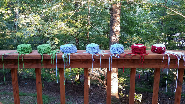 seven rows of joined granny squares or 133 squares