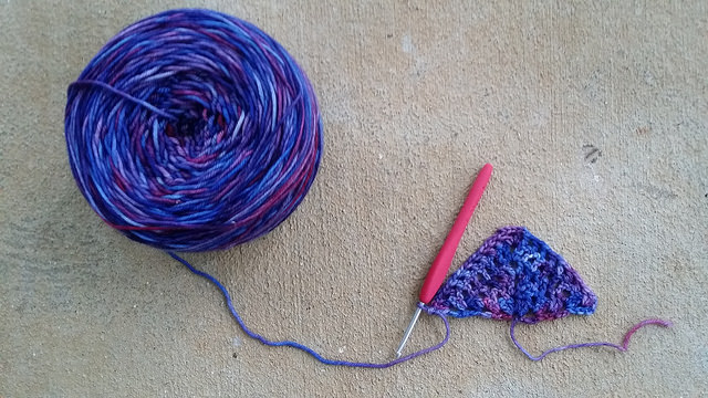 I start work on a new project; a purple crochet scarf