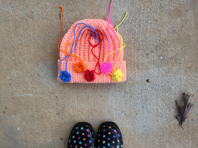 The peachy keen crochet hat with some preliminary tricking out for stash down 2014