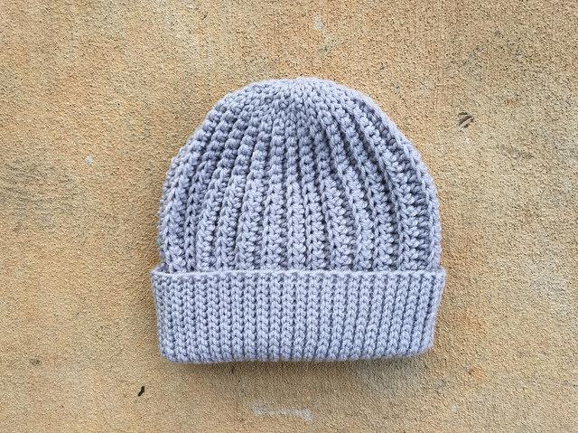 gray crochet hat