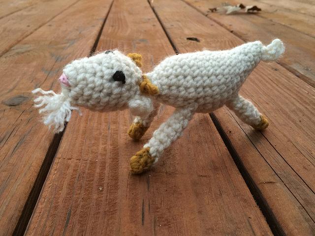crochet Christmas goat in action