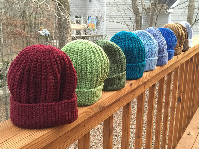 Then there were ten seafarer's crochet hats on the deck rail