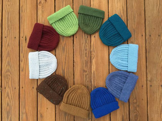 Ten seafarers' crochet caps