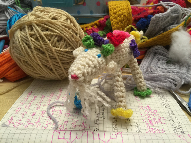 crochet goat with flowers