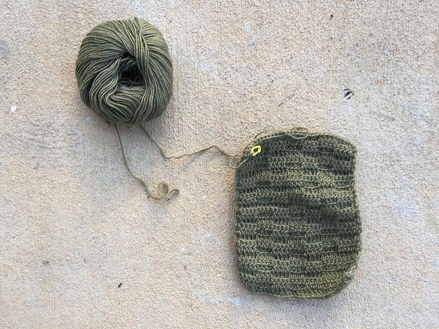 green textured crochet scarf