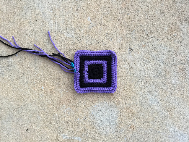 Concentric textured crochet squares