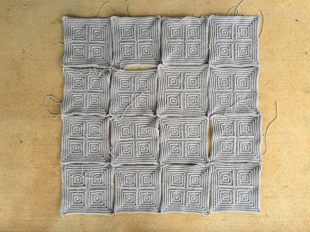 sixteen textured crochet squares