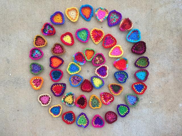 crochet heart circles