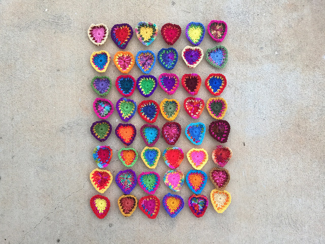 rectangle of crochet hearts
