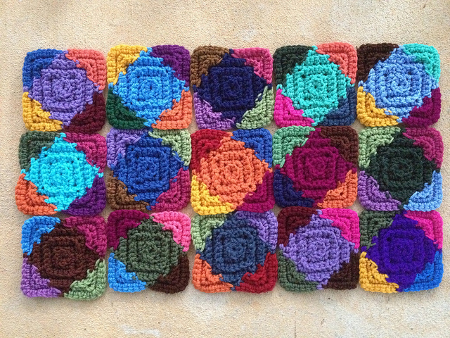 A multicolor textured crochet square motif