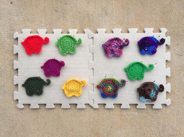 ten crochet elephants