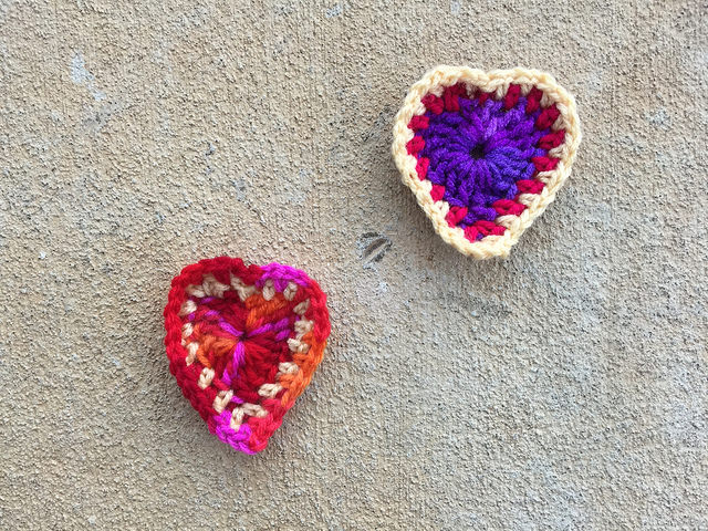 Two crochet boho hearts