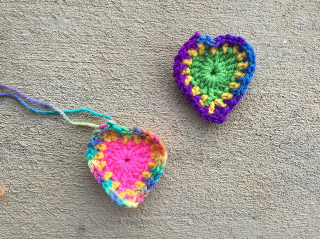 Two more boho crochet hearts on a blustery weekend