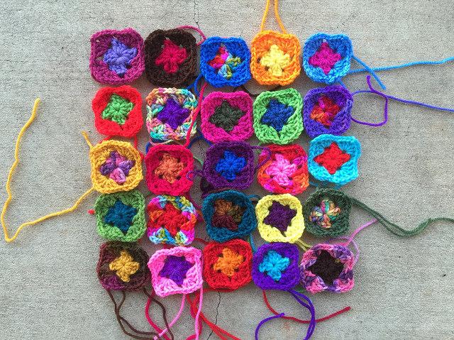 two-round granny squares