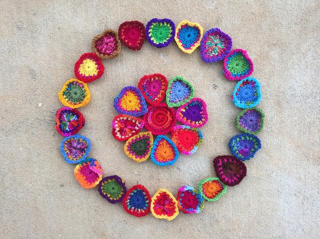 a boho crochet heart crochet mandala