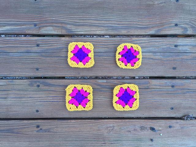Four different granny squares