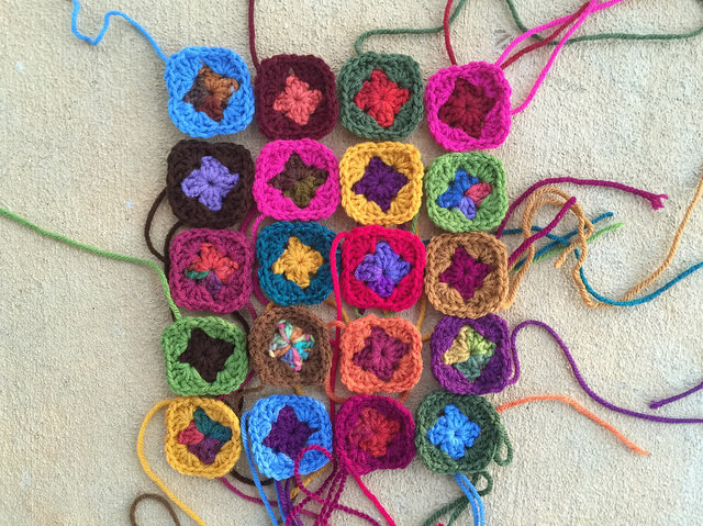 crochet squares for a strap for a granny square bag