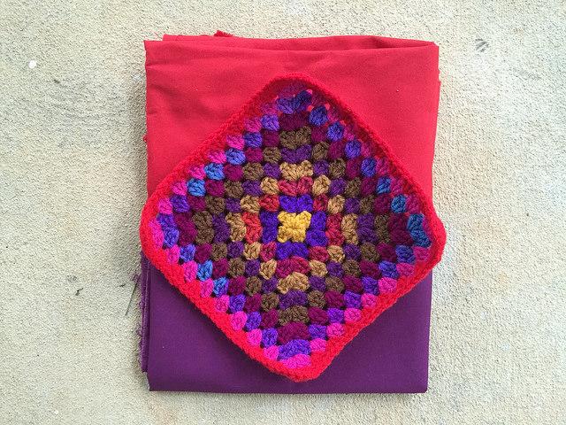 granny square with fabric