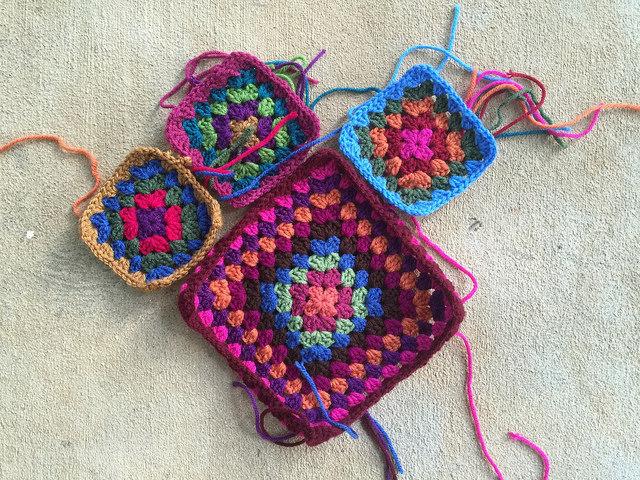 four crochet squares