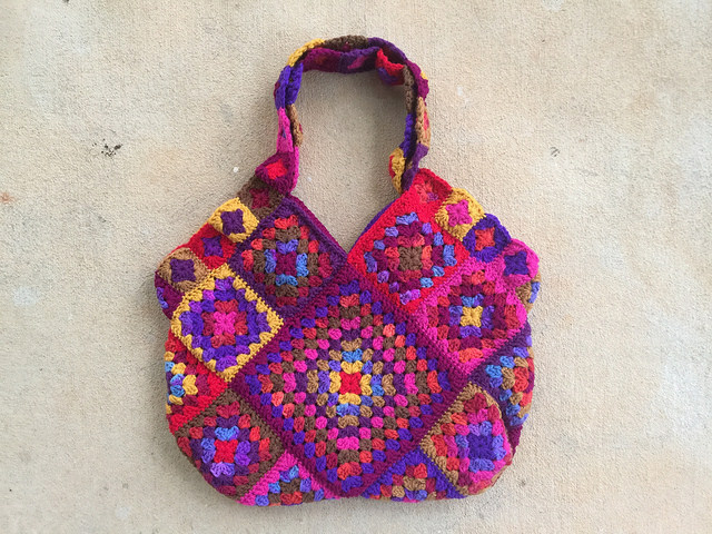 The one bag I got done: A ditsy floral inspired granny square purse