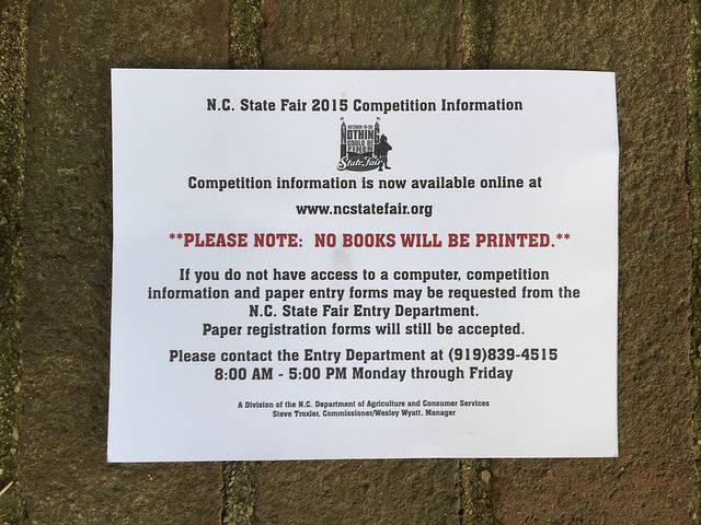 A post card detailing the 2015 North Carolina State Fair competition information