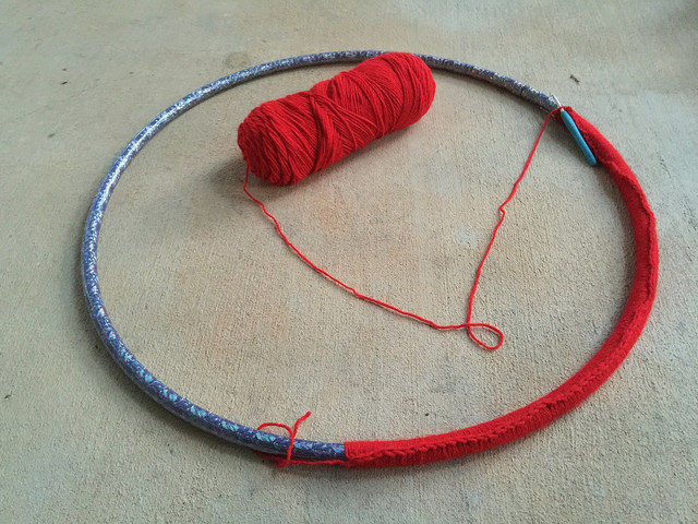 crocheting around a hoop