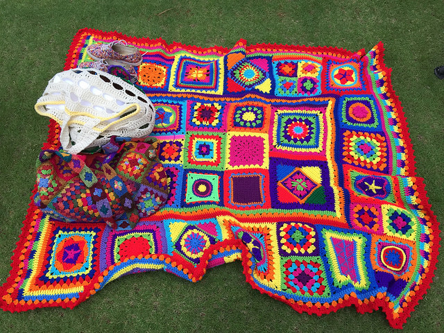 granny square crochet blanket and crochet purse