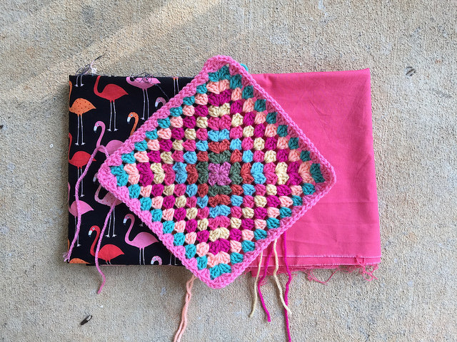 The first flamingo square with the fabrics that will line it