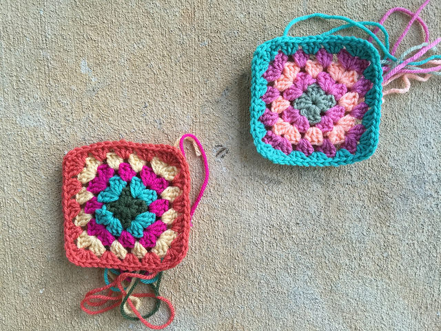 two crochet squares granny squares
