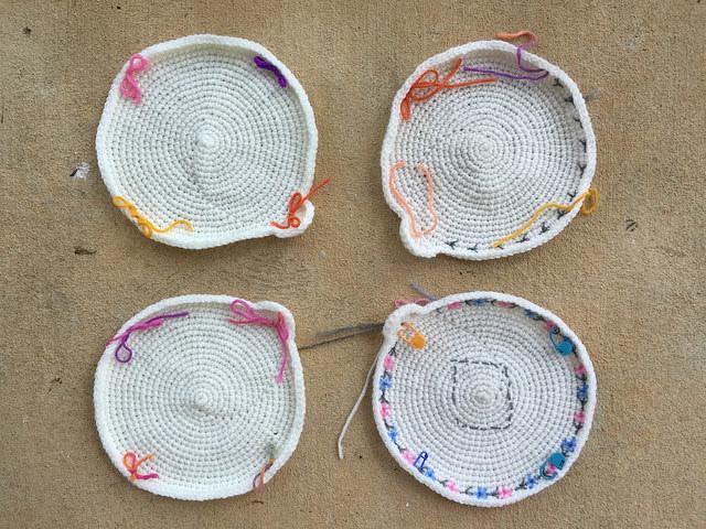 four crochet circle motifs