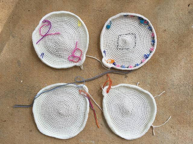 four crochet circles