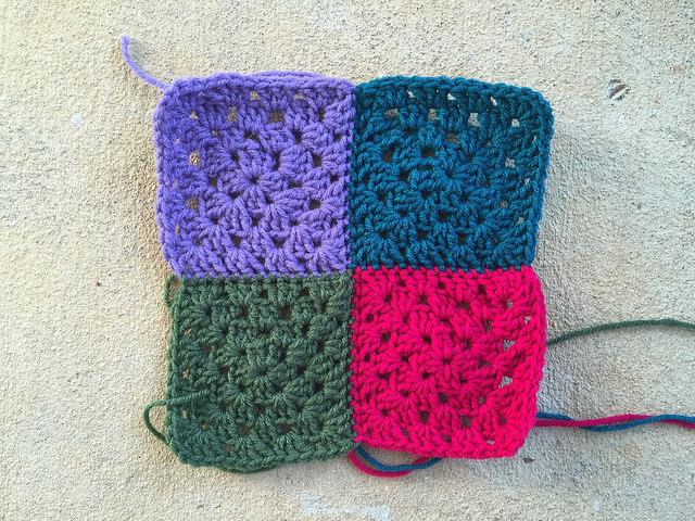 four granny squares crochet squares