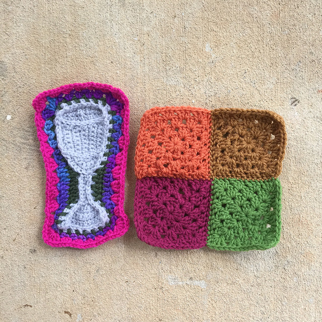 one water goblet crochet motif with four granny squares