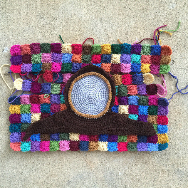 The very nearly completed crochet clock panel