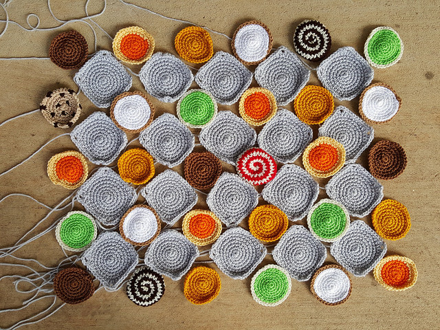 crochet squares with crochet cookies