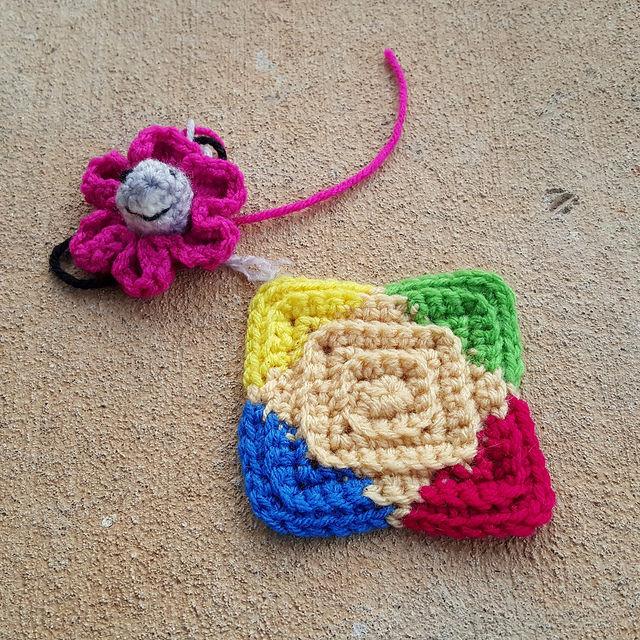 shark crochet flower motif