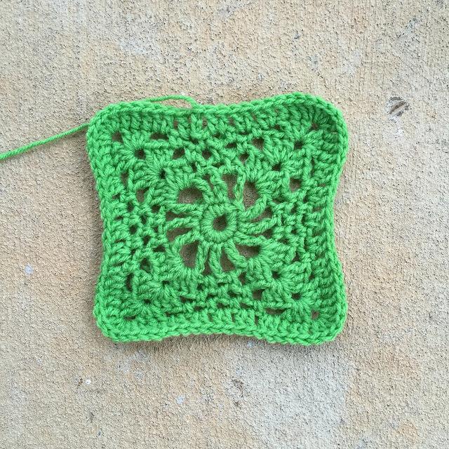 green crochet square
