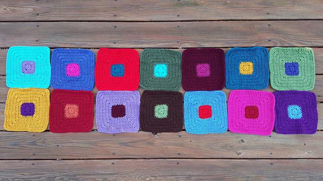 color study crochet squares