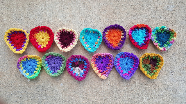 thirteen boho crochet hearts