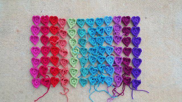 My crochet journey: a rainbow of boho heart centers