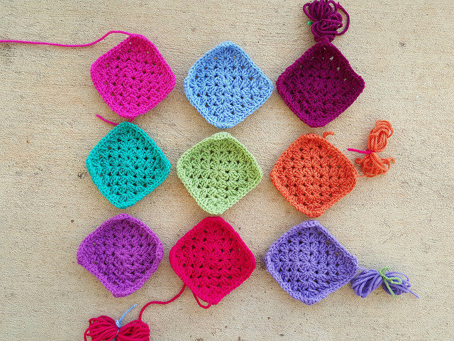 nine crochet granny squares