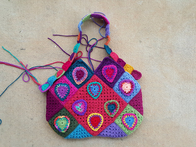 crochet heart granny square purse