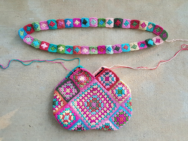 flamingo inspired granny square crochet bag